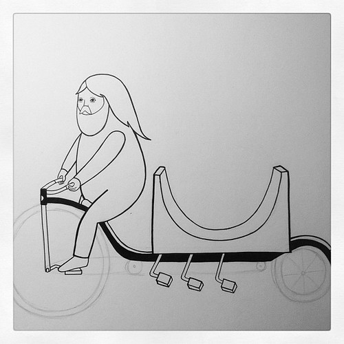 Mini ramp long penny farthling bike doodle by Michael C. Hsiung