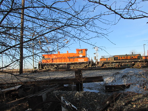 Indiana Harbor Belt Railroad EMD switcher # 1520 and slug unit idling at the IHB Argo Yard.  Summit Illinois.  March 2014. by Eddie from Chicago