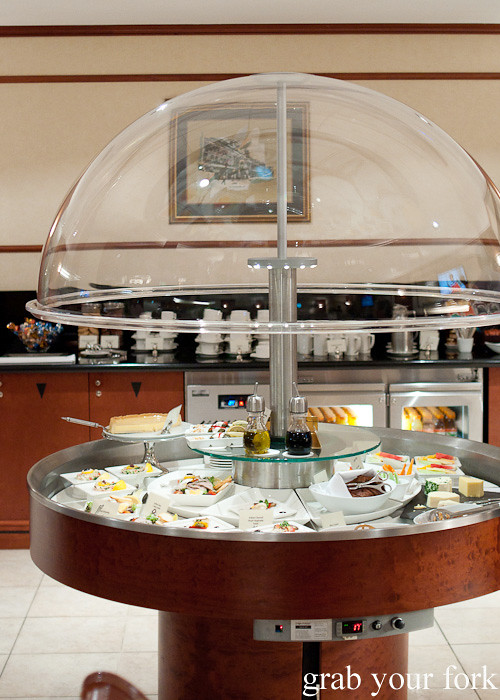 Emirates Business Class lounge dining buffet at Sydney International Airport