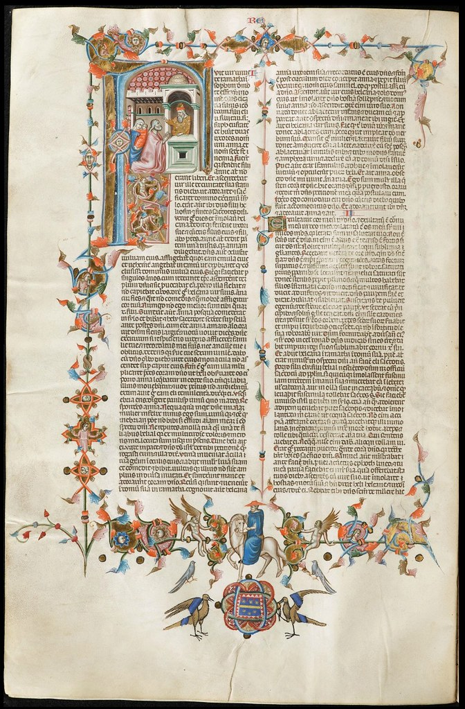 14th cent. decorated ms page from Naples