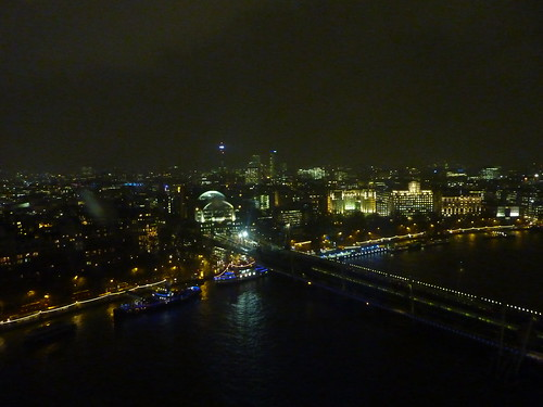 London Skyline at night from the eye