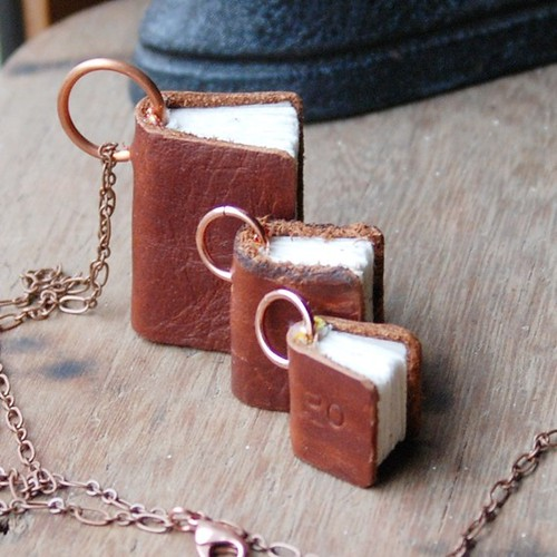 Handmade book necklace
