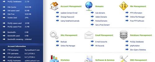 giao diện trang quản lý byethost