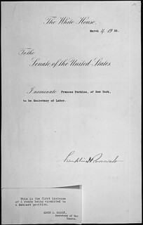 Message of President Franklin Roosevelt nominating Frances Perkins of New York to be Secretary of Labor, 03/04/1933