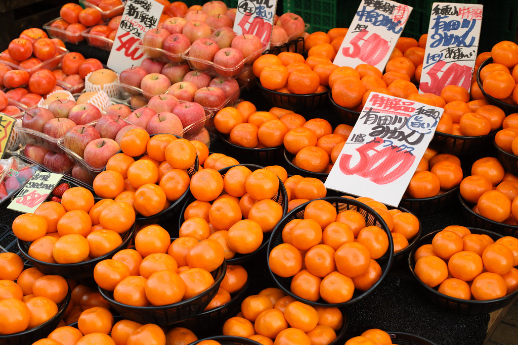 Persimmons and apples  in Japan