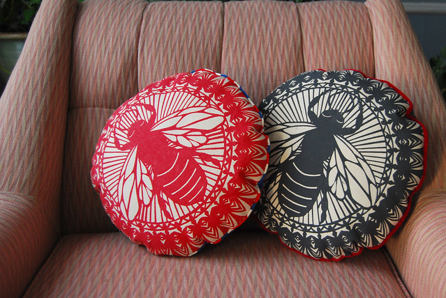 Ash Black & Red Round Bee Pillow