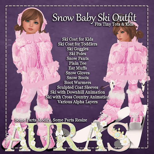 Snow Baby Ski Outfit in Cotton Candy by Aura Milev