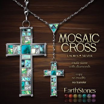 EarthStones Mosaic Cross Necklace - Silver (GIFT BOX), 499 lindens by Cherokeeh Asteria