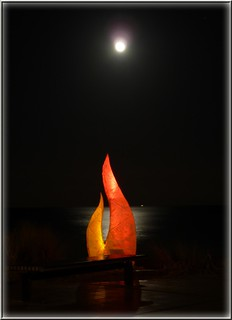 Baltic Sea with misty moon and Christmas decorations