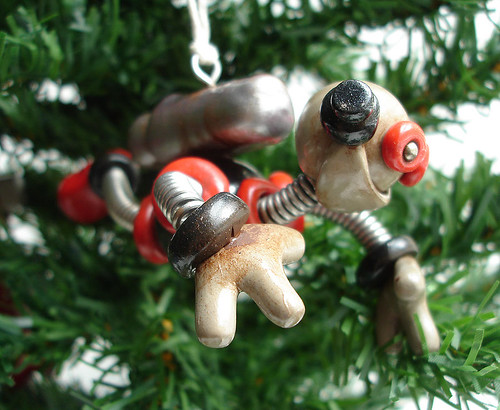 Robot Christmas Ornament | Red Black Zack by HerArtSheLoves