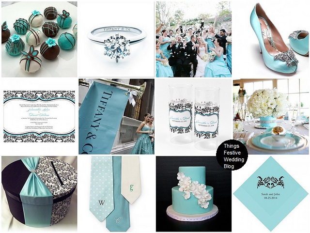 Adding black and white damask to a classic Tiffany inspired wedding color