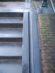 Bike wheel gutter, stairs, Amsterdam