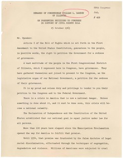 Remarks of Congressman William Dawson on Presentation of Petition in Support of House Resolution 7453, 10/25/1963 (page 1 of 2)