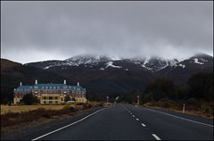 Driving on SH48 along the Chateau Tongariro