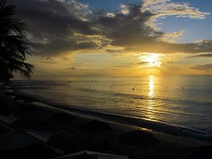 Sunset over Beach at Fairmont hotel, St James, Barbados