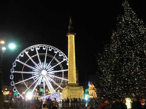 Wheel, cenotaph and Christmas tree