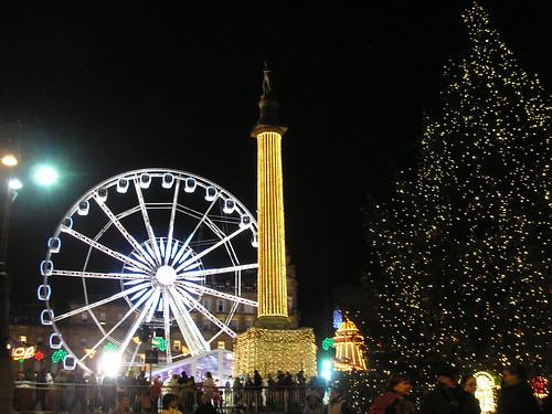 Wheel, cenotaph and Christmas tree