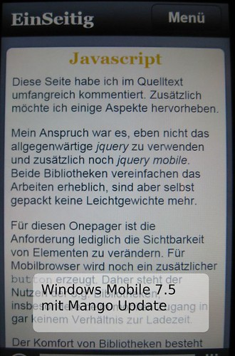 Screenshot der Seite mit Windows Mobile