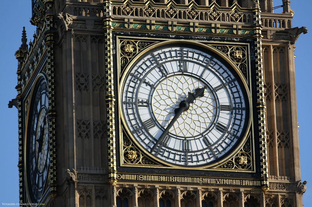 L'un des cadrans de Big Ben, sans doute la plus célèbre des horloges. Notez le chiffre romain IV, différent de l'écriture classique pour une horloge.