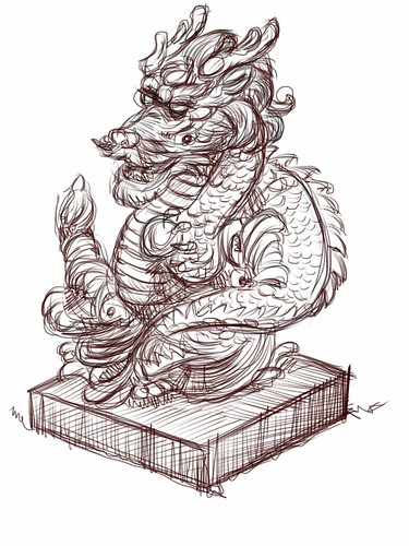 digital live sketch of dragon statue on iPad Sketchbook Pro