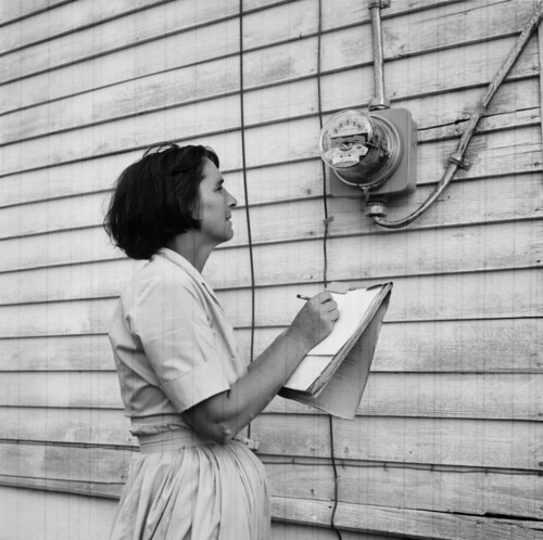 Mrs. Nolan Freeman of Albertville, Alabama takes a monthly electric meter reading in October 1965.