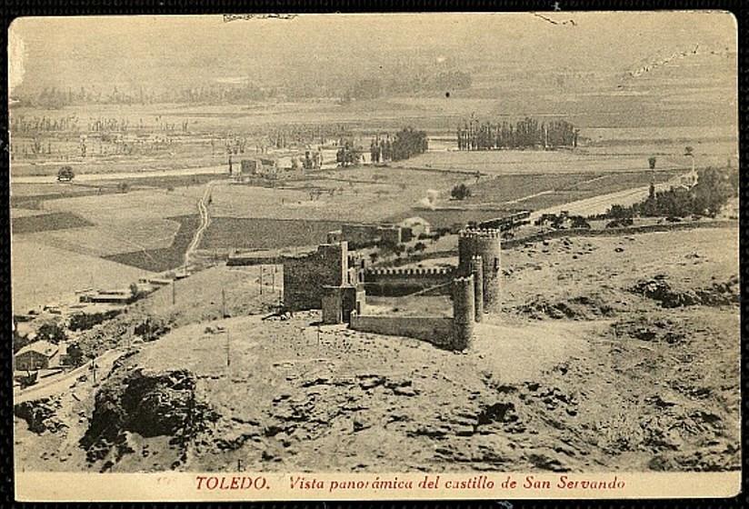 Castillo de San Servando y camino de la Senda Galiana y los Palacios de Galiana a comienzos del siglo XX