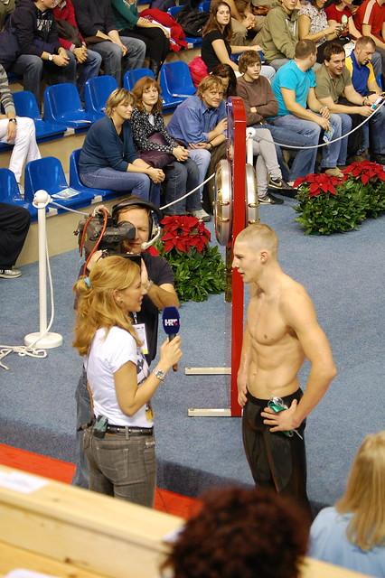 Dinko Jukić being interviewed at the Rijeka 2008 Europeans