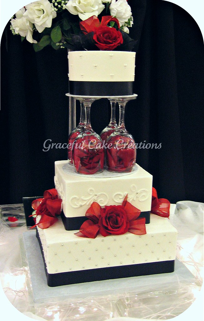 elegant white black and red wedding cake a photo on flickriver. Black Bedroom Furniture Sets. Home Design Ideas