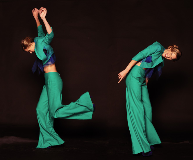 Green Pants Suit, High Fashion Shoot Studio Shots with movement. Photography by Kent Johnson
