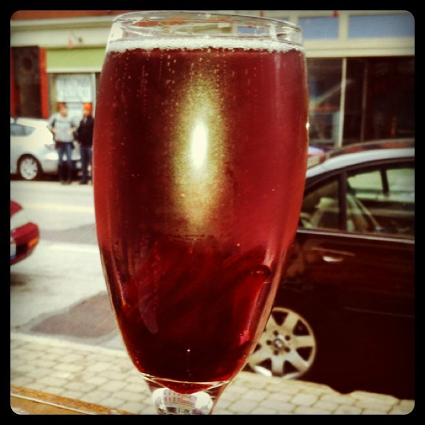 Champagne and hibiscus brunch cocktail on New Years Day