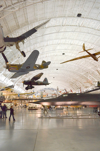 Inside one of the hangers at the Air and Space Museum