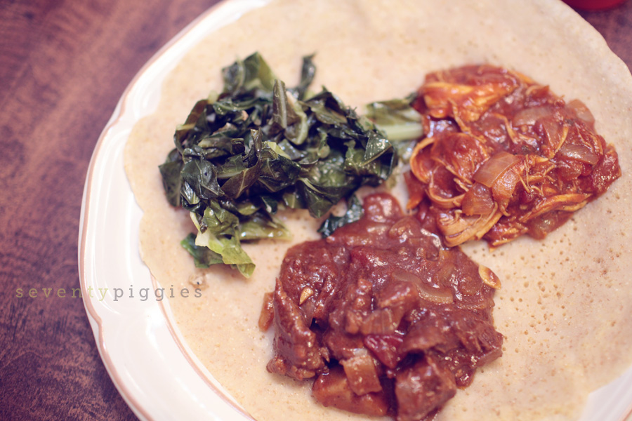 gomen, sega wat, doro wat, and trying to be injera