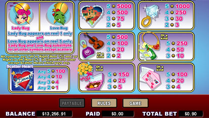 free Love Bugs slot payout