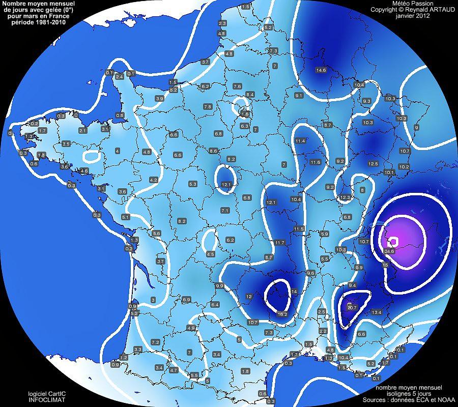 nombre moyen mensuel de jours avec gel�e 0� pour le mois de mars en France sur la p�riode 1981-2010