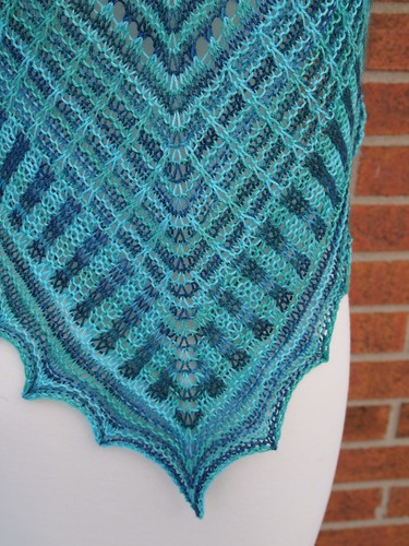 test knit Coastala Waters shawl