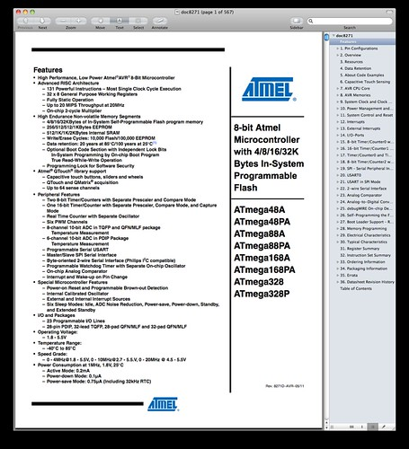 Atmel ATmega Data Sheet Title Page