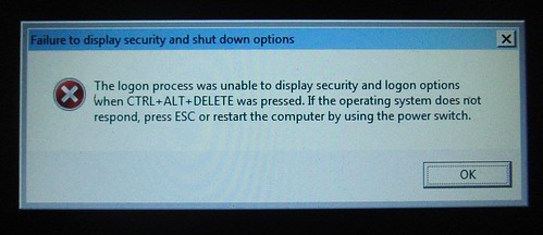 Failure to display shutdown and security options