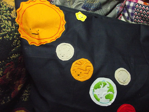 Wild Olive Solar System cushion - Sun to Earth (and Moon)