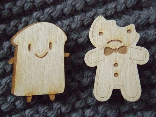 Wooden Brooches