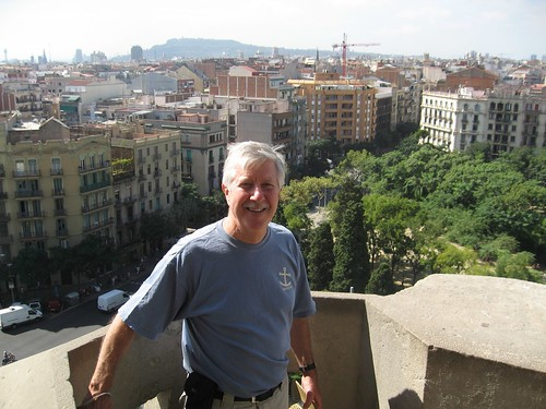 Dad and the view about half way down the tall tower of the Sagrada Família