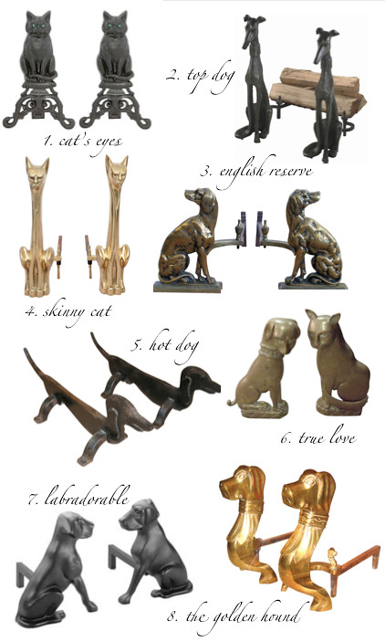 dog and cat andirons