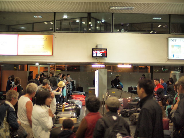 Congested baggage claim at Noi Bai AP in Hanoi