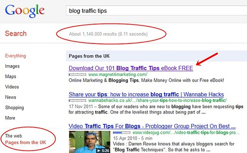 Blog Traffic Tips search phrase