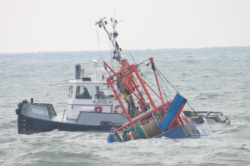 Capsized Trawler Teignmouth