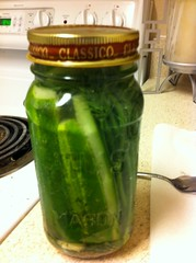 Making homemade pickles.
