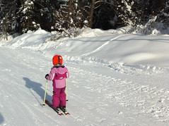 Skiing home