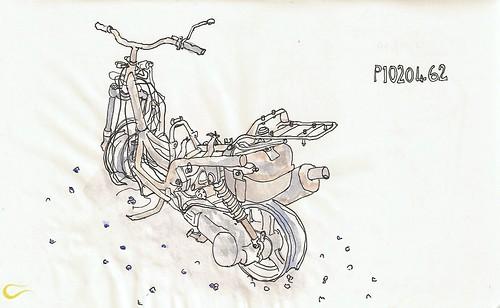 Yanmış bir motorsikletten geriye kalanlar