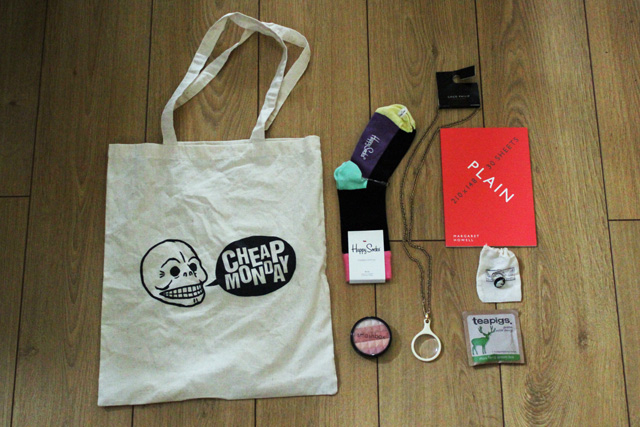 cheap monday tote, happy socks, margaret howell notebook, gogo philip necklace, teapigs green tea, smashbox blush, zara taylor ring