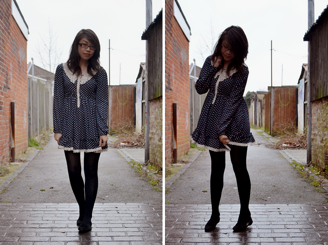 daisybutter - UK Style Blog: what i wore, polka dots, tunic, ever ours, disney jewellery, british style
