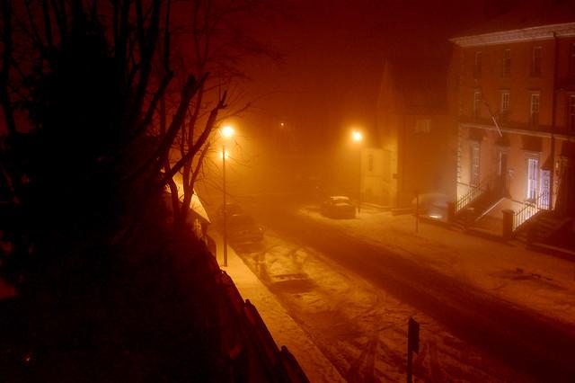 street scene, last night